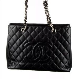 CHANEL Black Quilted Caviar Leather Tote Bag